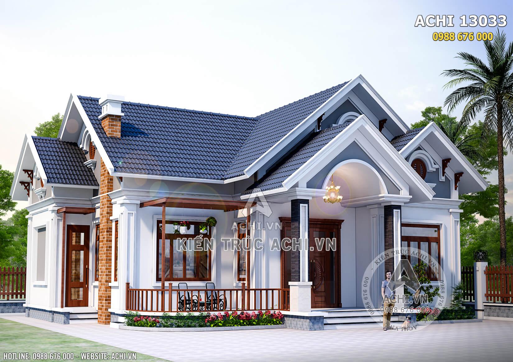 Phối cảnh ngoại thất tổng thể của mẫu nhà vườn 1 tầng mái Thái đẹp tại Phú Thọ