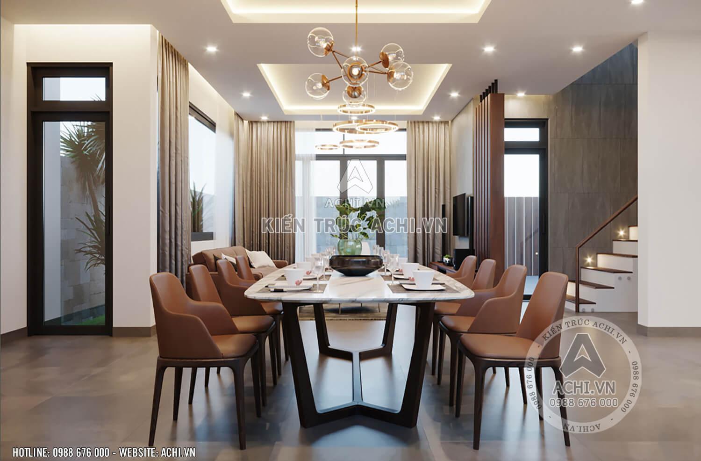Bộ bàn ăn của mẫu nhà 3 tầng đẹp mặt tiền 10m