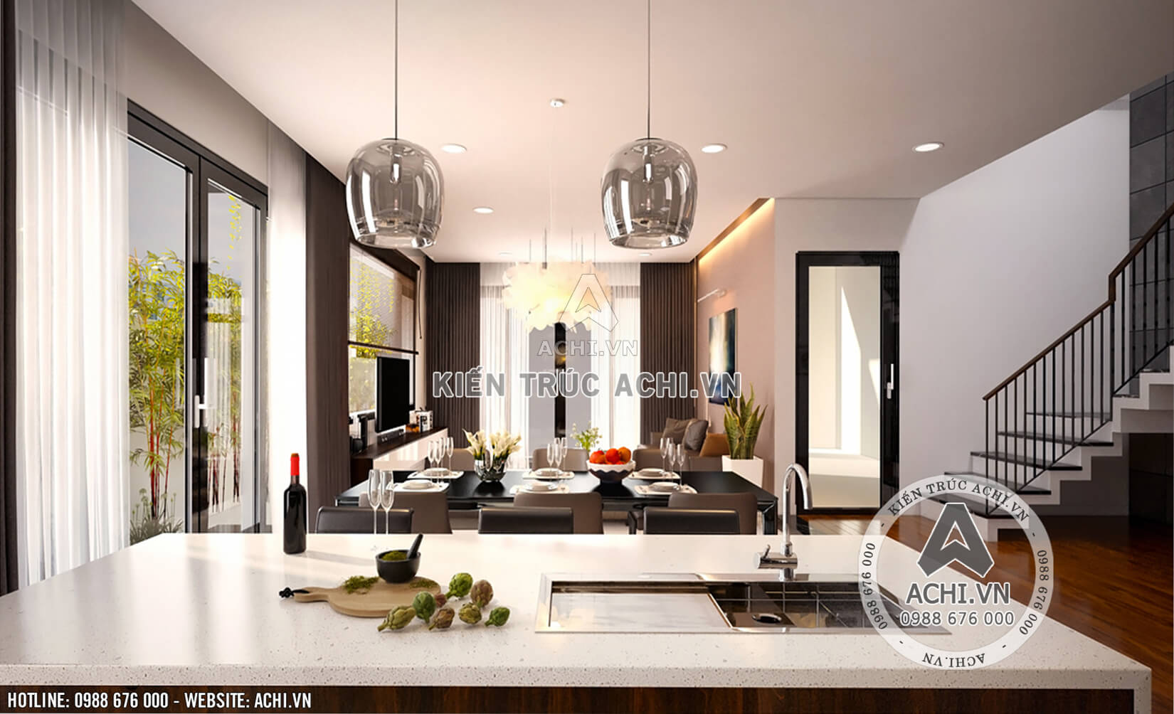 Nội thất phòng bếp của mẫu nhà 2 tầng sang trọng