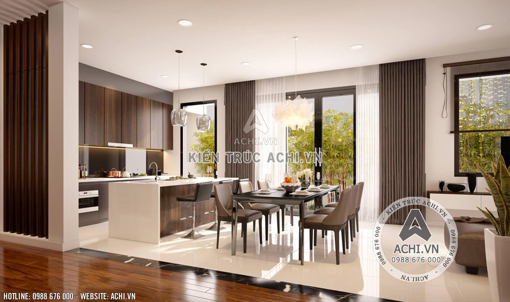 Nội thất phòng bếp thoáng rộng của mẫu nhà 2 tầng hiện đại