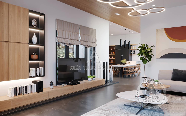Phòng khách được thiết kế thông với bếp ăn rất tiện nghi
