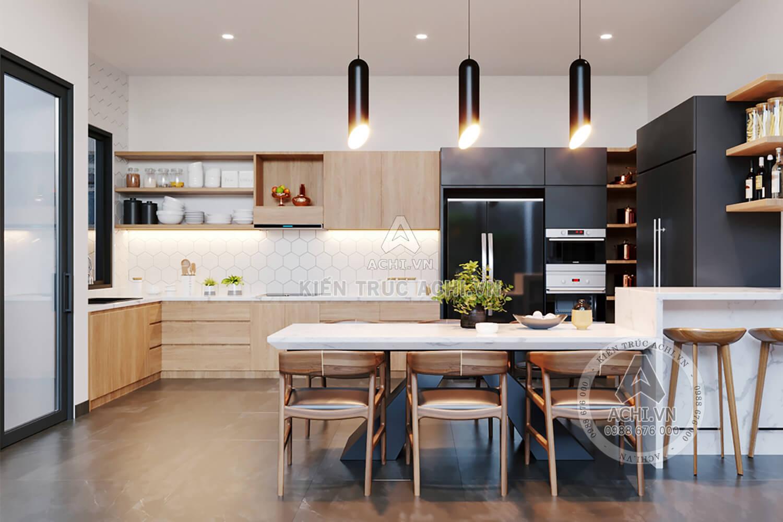 Nội thất phòng bếp ăn mẫu nhà hiện đại 2 tầng đẹp