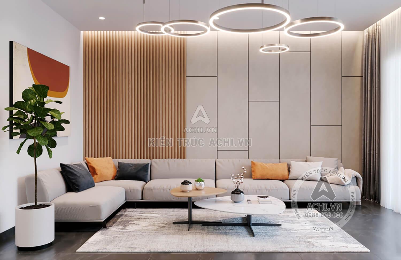Không gian phòng khách mẫu nhà hiện đại đẹp 2 tầng