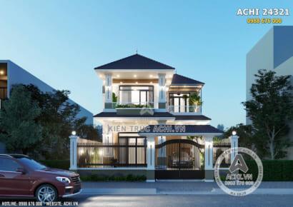 Không gian ngoại thất mẫu nhà 2 tầng hiện đại mái Thái đẹp - Mã số 24321