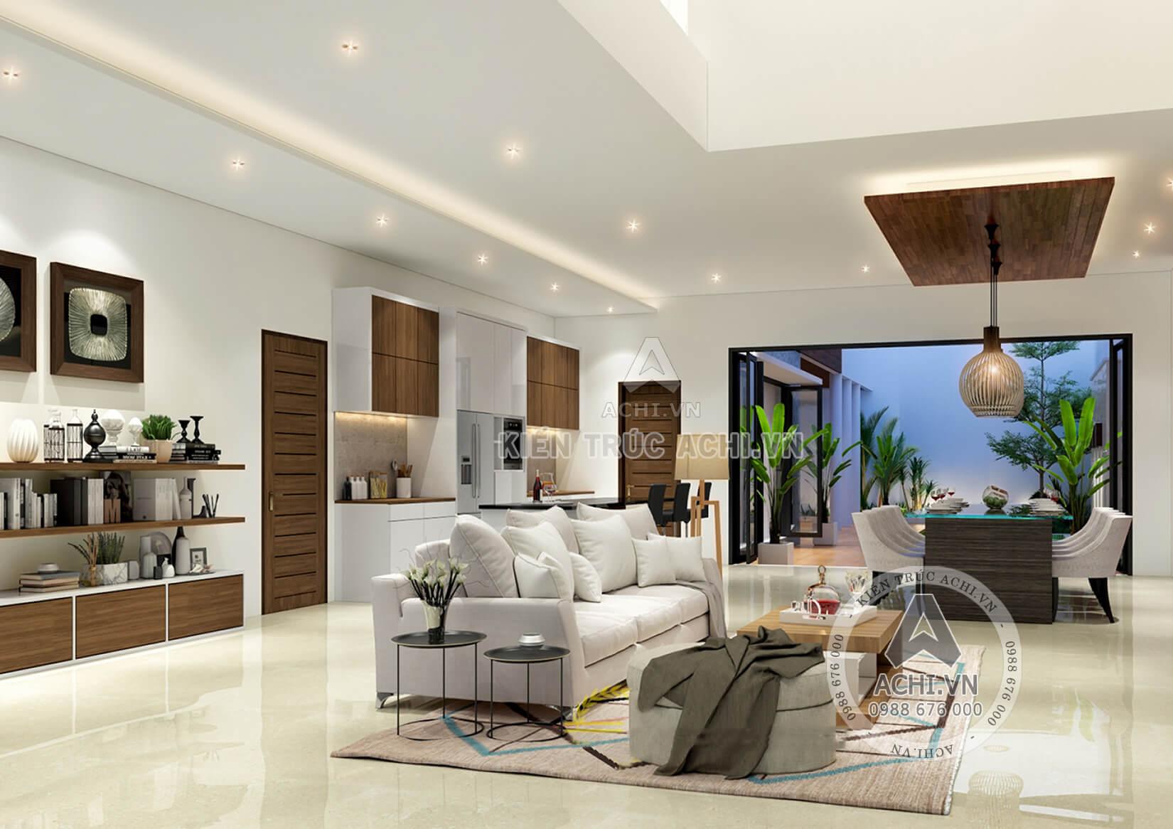 Nội thất phòng khách đẹp của mẫu biệt thự 2 tầng hiện đại