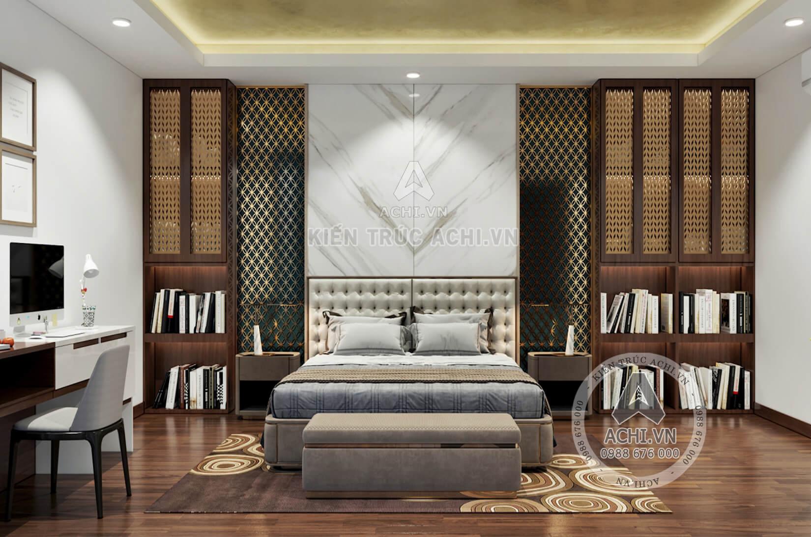 Nội thất phòng ngủ đẹp của mẫu biệt thự hiện đại với không gian mở
