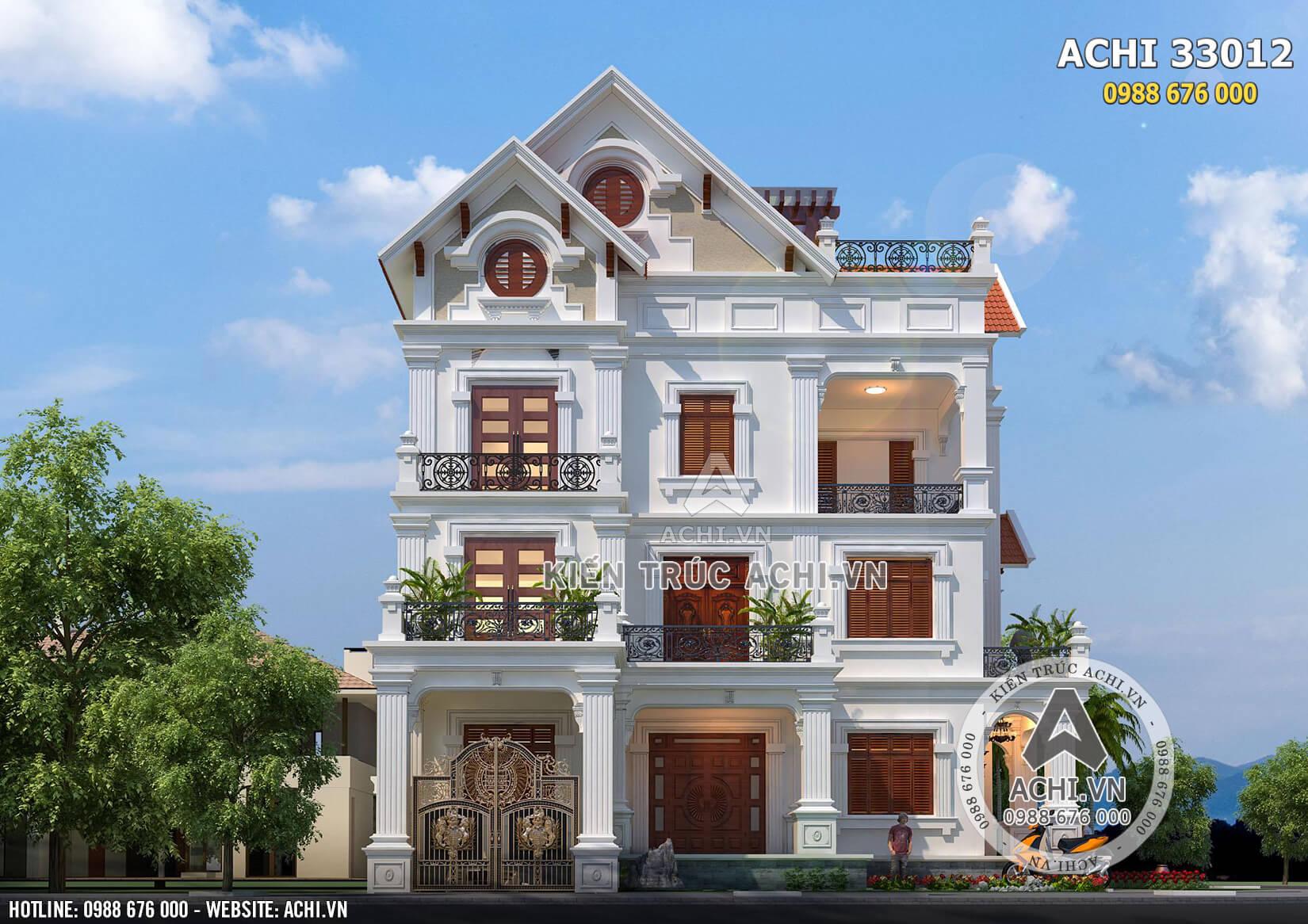 Mặt tiền khang trang của thiết kế biệt thự mái Thái 3 tầng đẹp - Mã số: ACHI33012