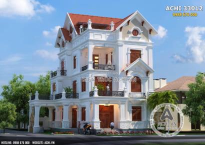 Mẫu nhà đẹp 3 tầng mái ngói được thiết kế đăng đối với kiến trúc đẹp