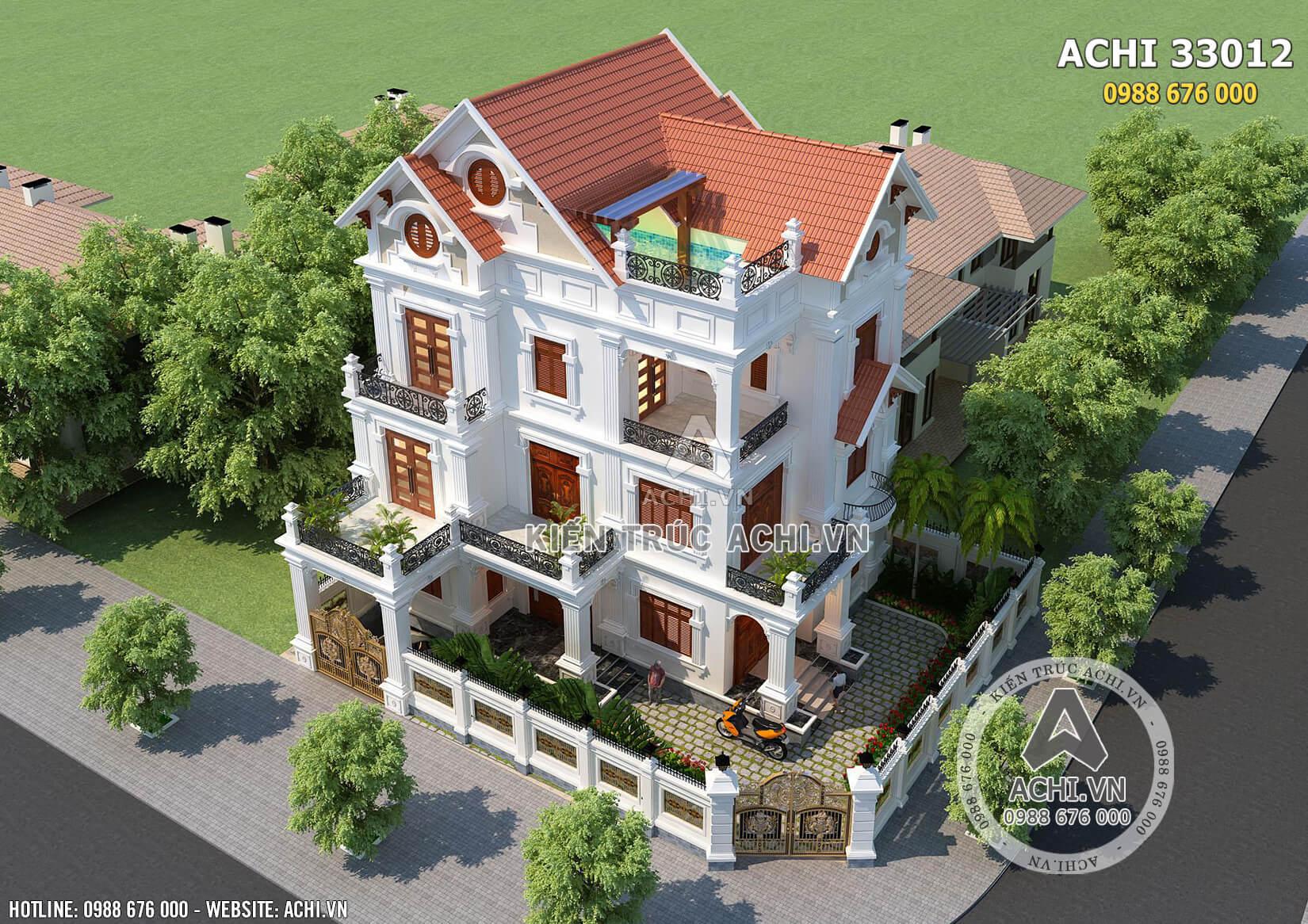 Tổng quan không gian ngoại thất của mẫu biệt thự 3 tầng mái Thái khi nhìn từ trên cao xuống