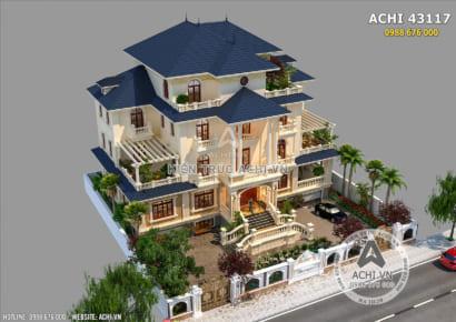 Thiết kế biệt thự mái thái 3 tầng đẹp tại Quảng Ninh - ACHI 43117