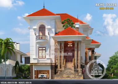 Mẫu thiết kế biệt thự mái thái 3 tầng tân cổ điển – ACHI 33228