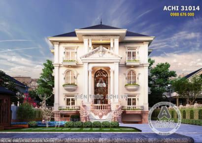 Phối cảnh 3D mặt tiền thiết kế biệt thự tân cổ điển 3 tầng có bể bơi - Mã số: ACHI 31014