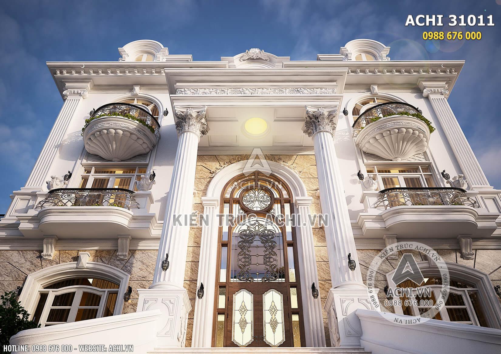 Mặt tiền với kiến trúc đăng đối đặc trưng cùng đường nét tinh tế, sang trọng của mẫu biệt thự Pháp