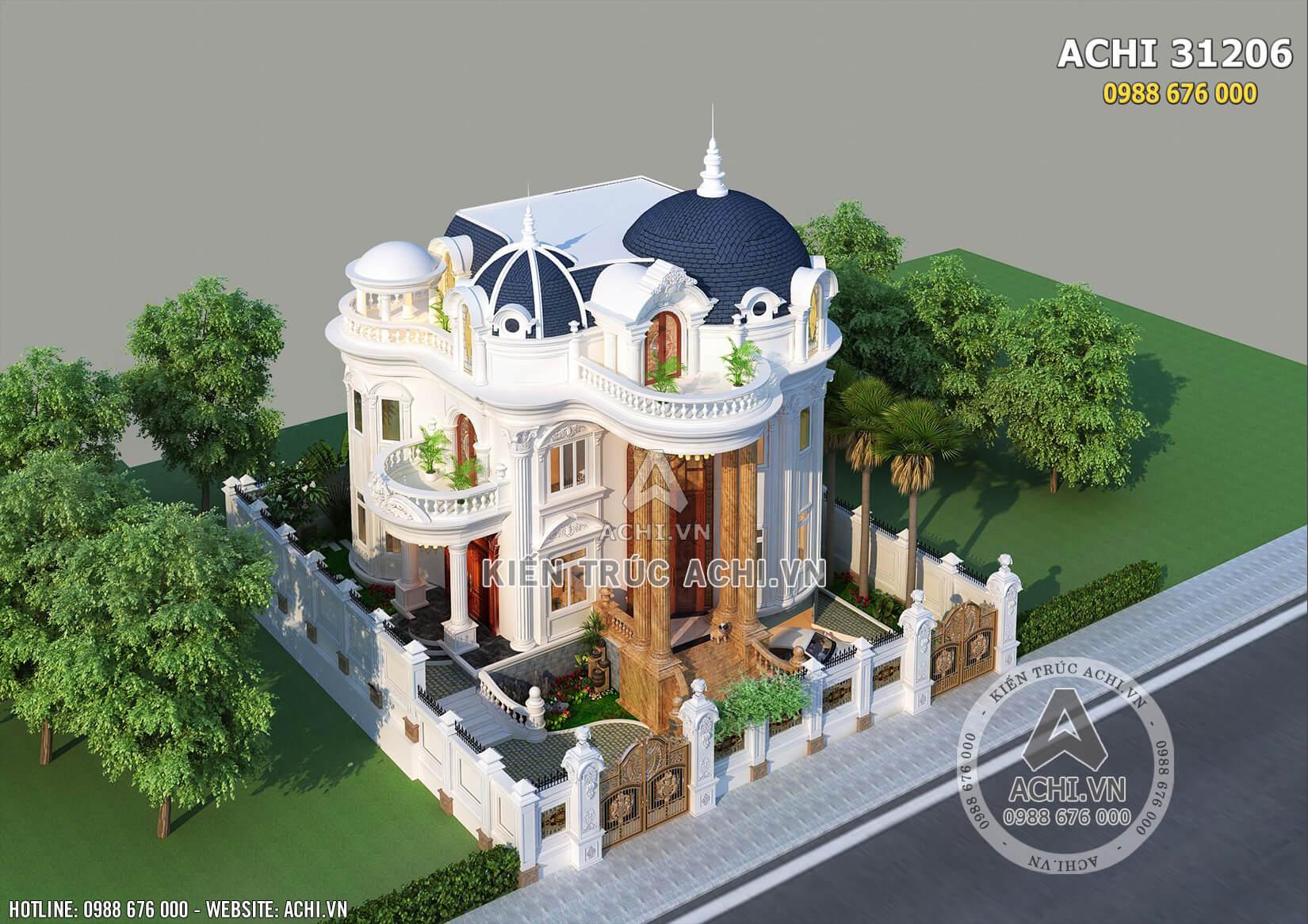 Mẫu thiết kế biệt thự tân cổ điển 3 tầng nhìn từ trên cao