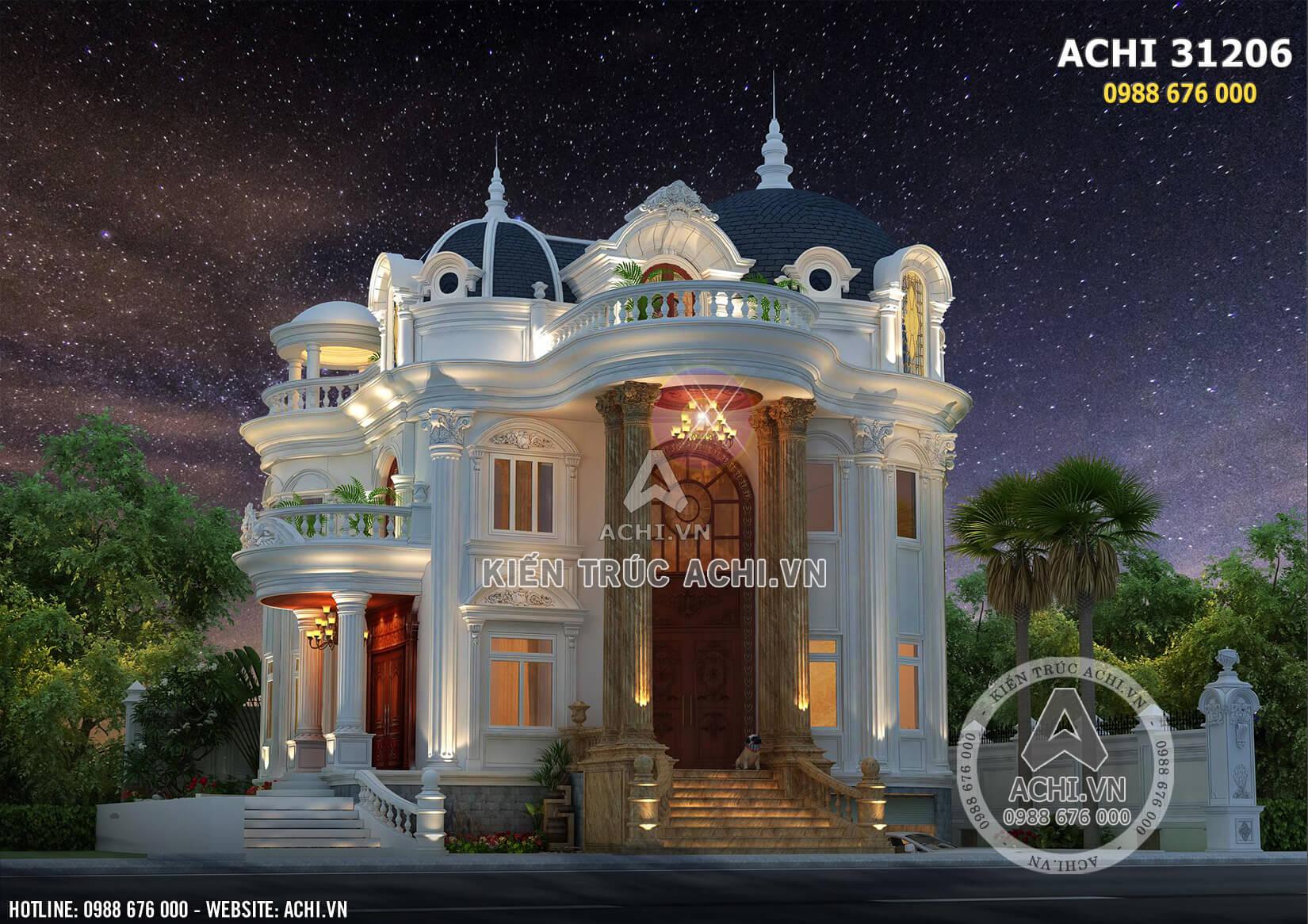 Mẫu thiết kế biệt thự tân cổ điển đẹp 3 tầng lộng lẫy về đêm