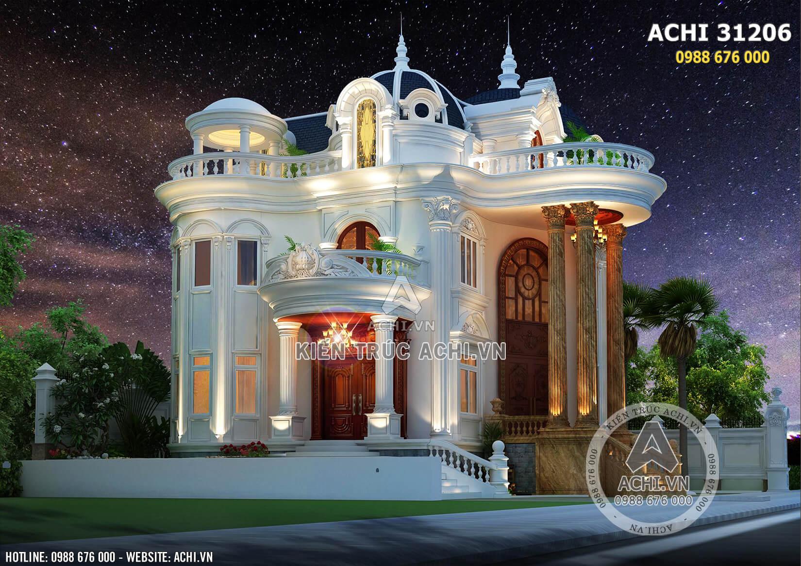 Một góc view của mẫu thiết kế biệt thự tân cổ điển đẹp 3 tầng