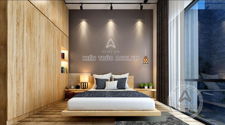 Phòng ngủ ấm cúng với gam màu trầm ấn tượng