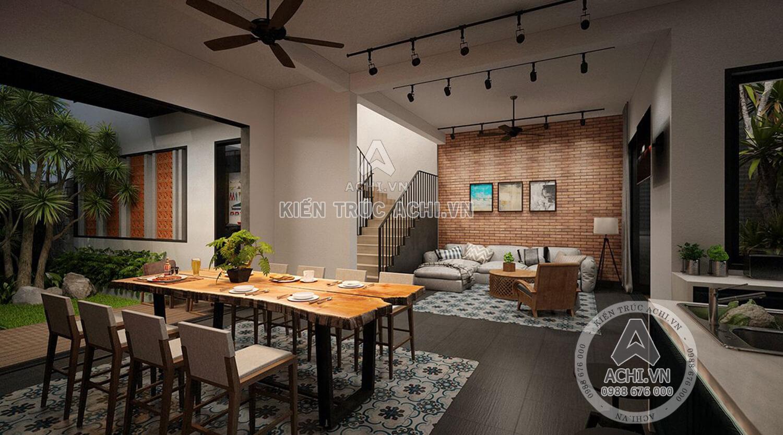 Không gian phòng ăn và phòng khách của mẫu nhà 3 tầng