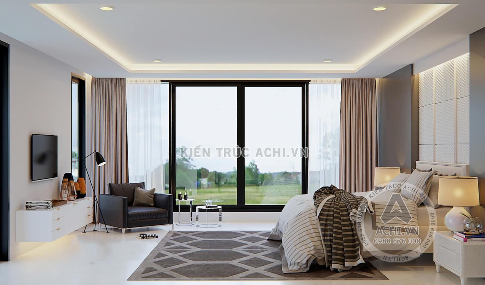 Thiết kế nội thất phòng ngủ mẫu nhà hiện đại 2 tầng mái Thái