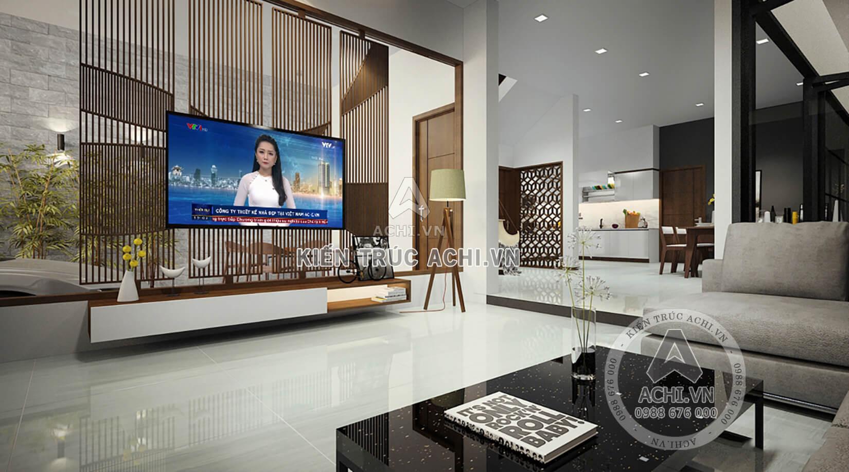 Thiết kế nội thất phòng khách hiện đại nhà biệt thự mái Thái