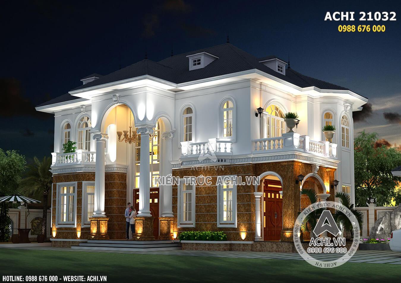 Không gian ngoại thất mẫu biệt thự 2 tầng tân cổ điển đẹp tại Quảng Bình - Mã số: 21032