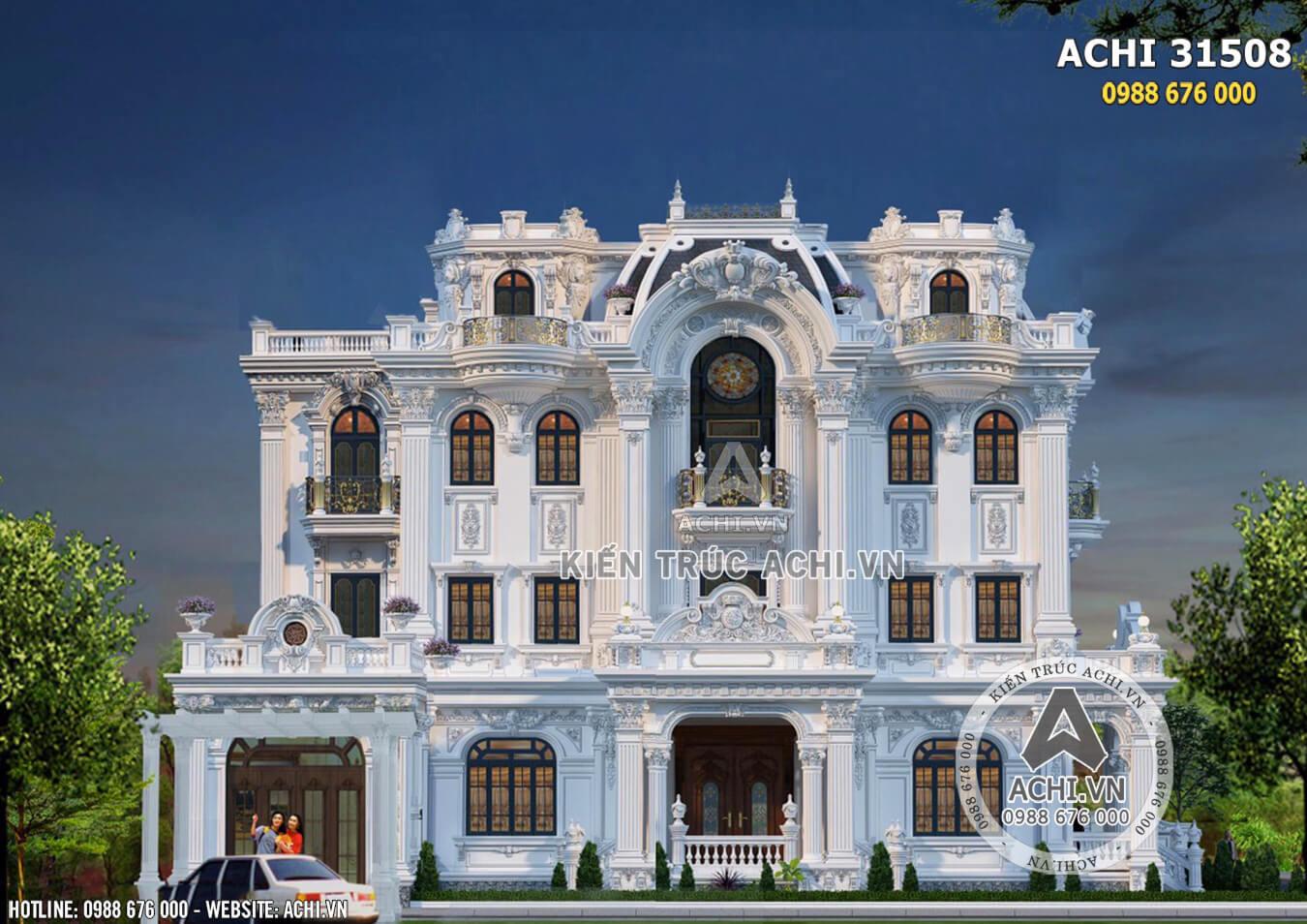 Mặt tiền biệt thự tân cổ điển Pháp 3 tầng đẳng cấp