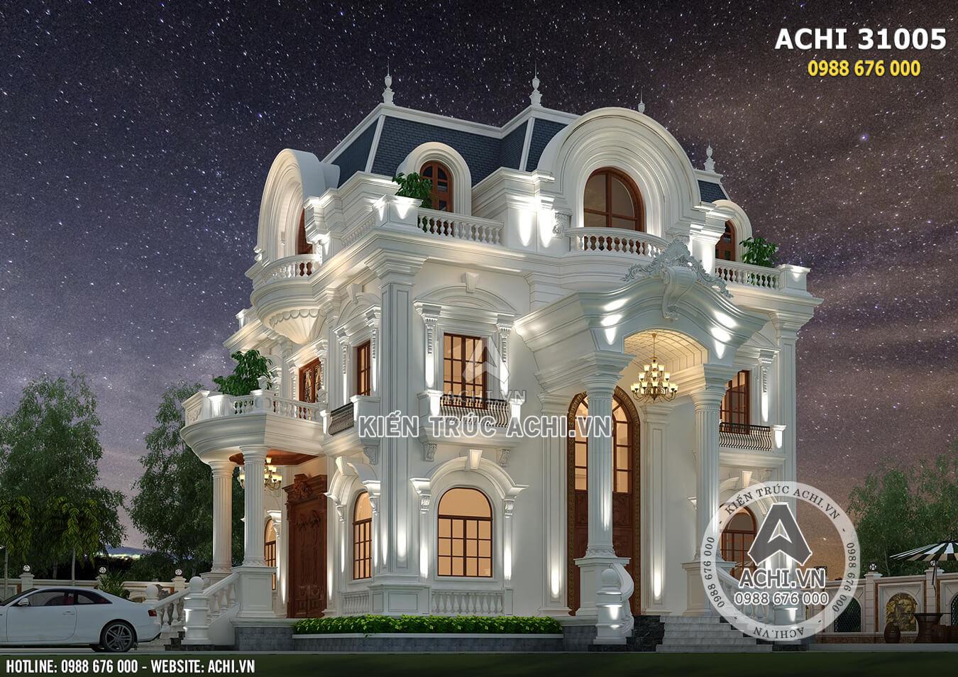 Mẫu biệt thự tân cổ điển 3 tầng đẹp tại Sài Gòn - ACHI 31005