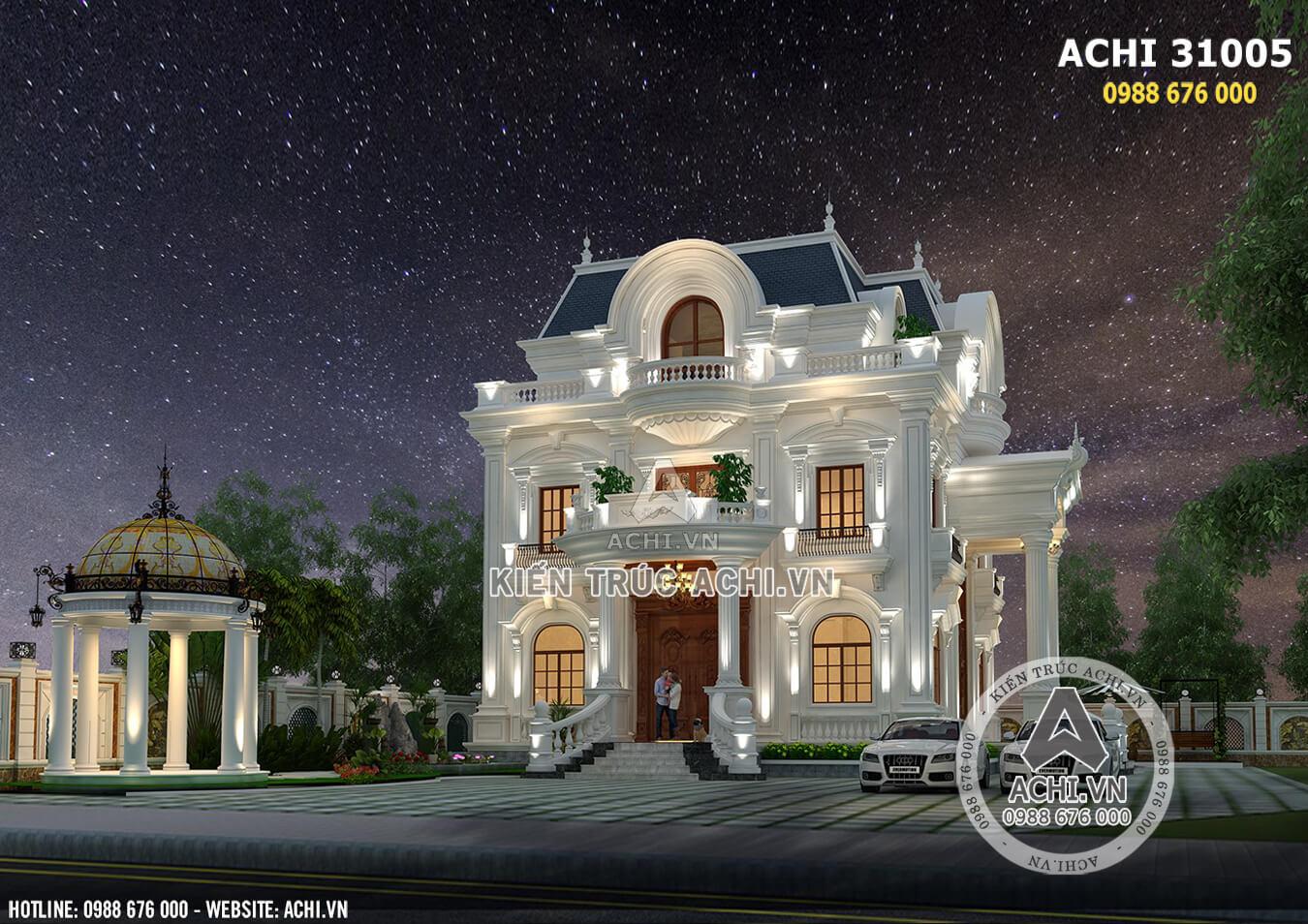 Biệt thự 3 tầng tân cổ điển đẹp lộng lẫy về đêm