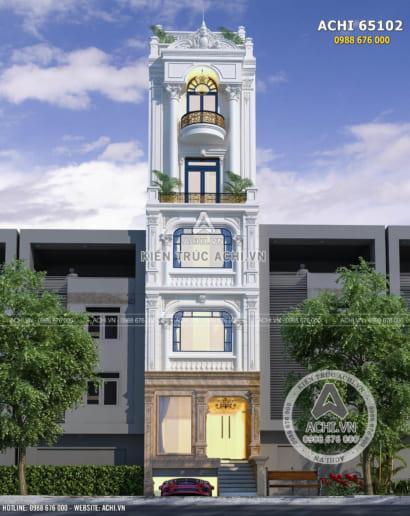 Mẫu nhà phố nổi bật giữa phố phường với kiến trúc Pháp sang trọng