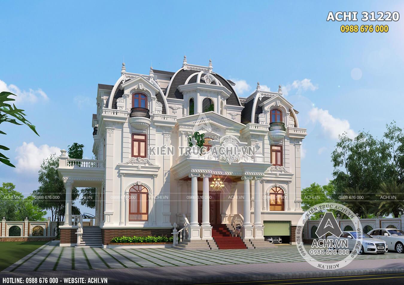 Một góc view mẫu thiết kế 3 tầng kiến trúc Pháp đẹp