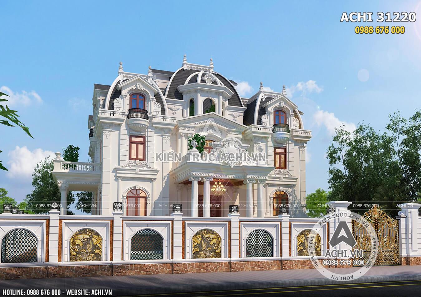 Phối cảnh 3D ngoại thất mẫu biệt thự tân cổ điển khi nhìn từ ngoài đường