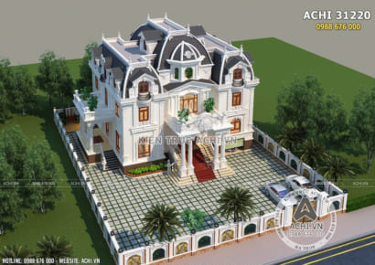 Không gian ngoại thất mẫu thiết kế biệt thự tân cổ điển 3 tầng tại Lạng Sơn khi nhìn từ trên cao
