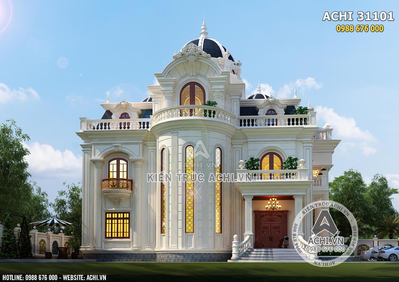 Mặt tiền mẫu thiết kế biệt thự tân cổ điển đẹp 3 tầng