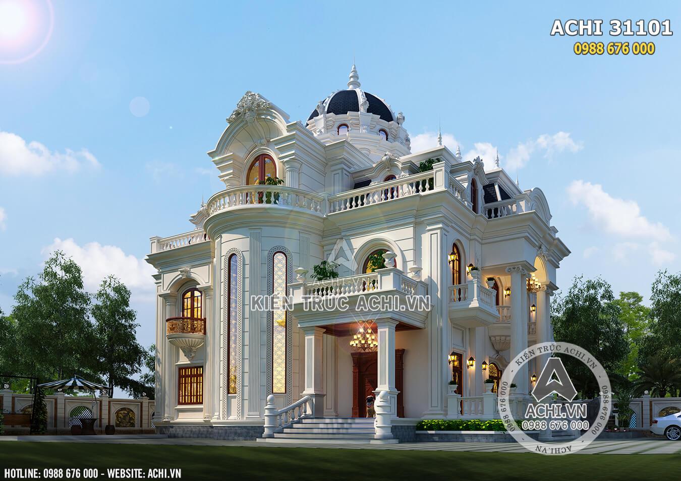 Hình ảnh: Thiết kế biệt thự tân cổ điển 3 tầng đẹp tại Nghệ An - ACHI 31101