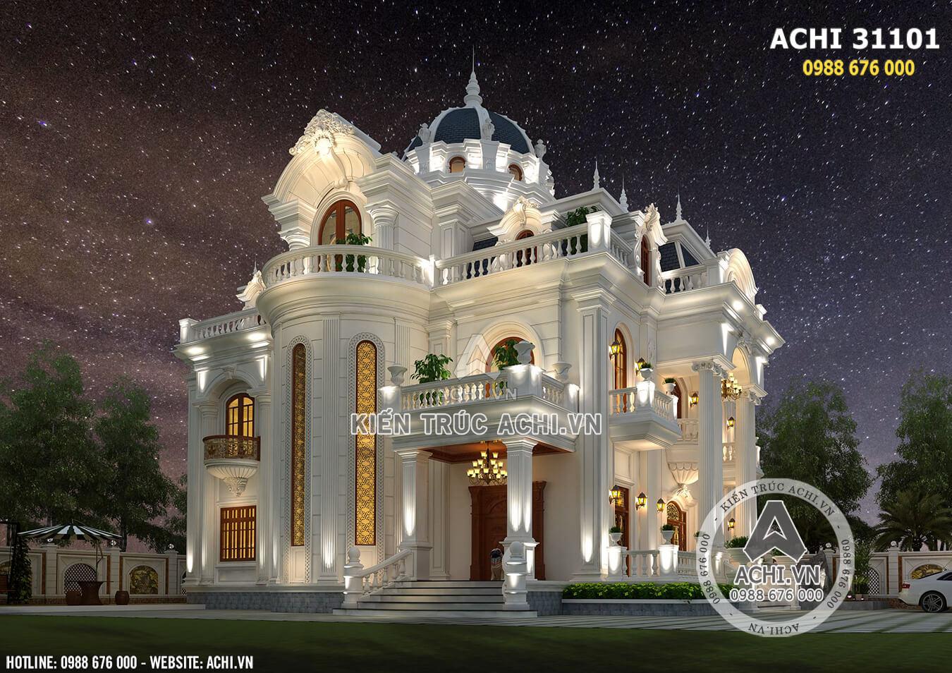 Ngôi biệt thự tân cổ điển 3 tầng lộng lẫy về đêm