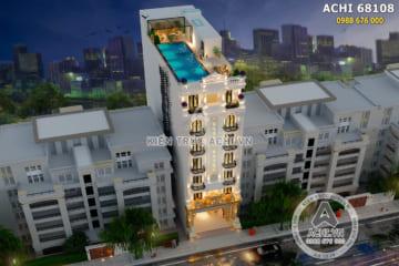 Thiết kế khách sạn tân cổ điển có bể bơi trên mái – Mã số: ACHI 68108