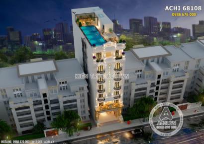 Góc view từ trên cao xuống của mẫu thiết kế khách sạn có bể bơi trên mái