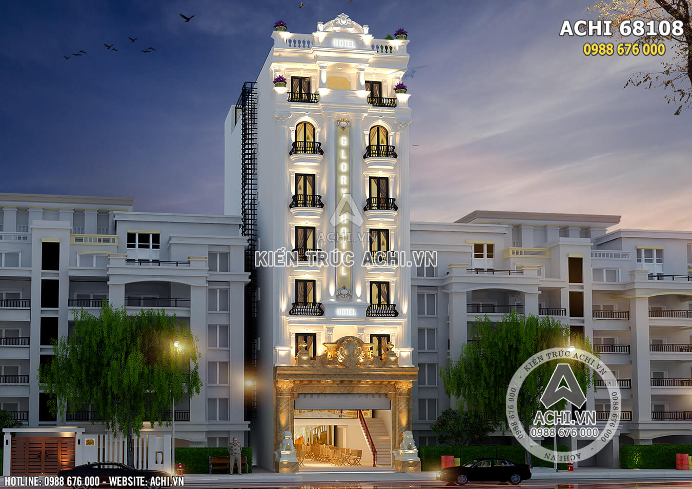 Không gian mặt tiền thiết kế khách sạn tân cổ điển có bể bơi trên mái - Mã số: ACHI 68108