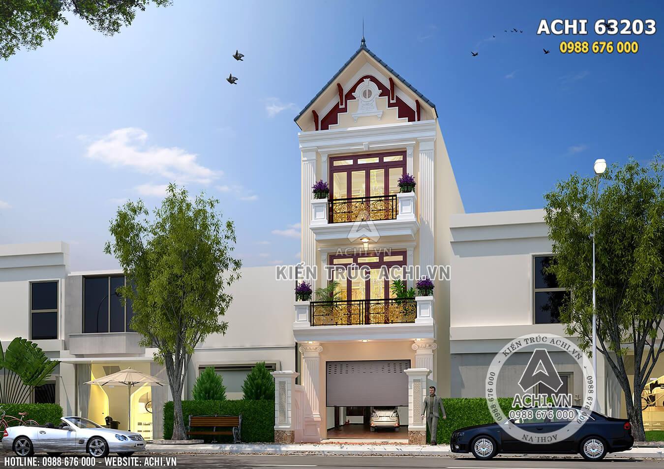 Phối cảnh 3D mẫu nhà phố 3 tầng tân cổ điển