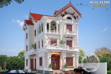 Mẫu biệt thự Pháp 3 tầng mái ngói đỏ tại Thái Nguyên – Mã số: ACHI 31309