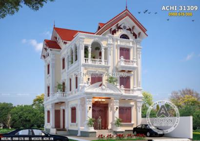 Phối cảnh 3D không gian ngoại thất mẫu biệt thự Pháp 3 tầng mái ngói đỏ