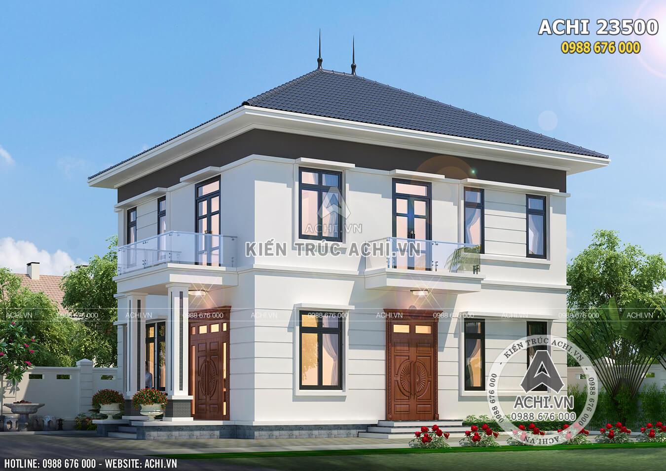 Mẫu nhà 2 tầng mái thái thoáng rộng với nhiều cửa sổ