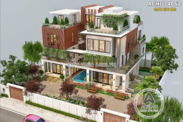 Thiết kế biệt thự song lập hiện đại đẹp – Mã số: ACHI 34062