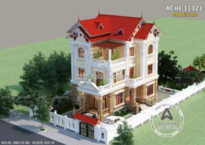 Biệt thự mái thái 3 tầng tân cổ điển tại Hà Nam nhìn từ trên cao