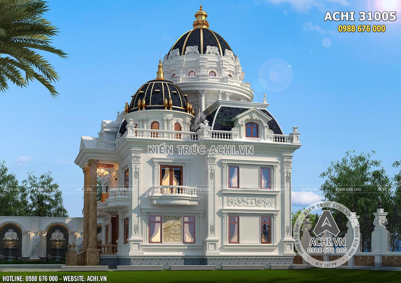 Mẫu thiết kế lâu đài dinh thự 2 tầng 1 tum đẹp đẳng cấp
