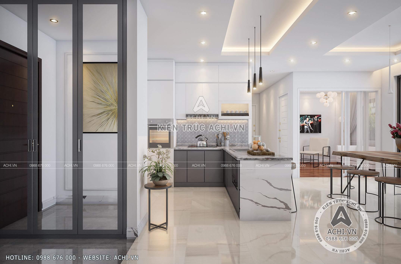 Không gian nội thất phòng bếp ăn của căn chung cư