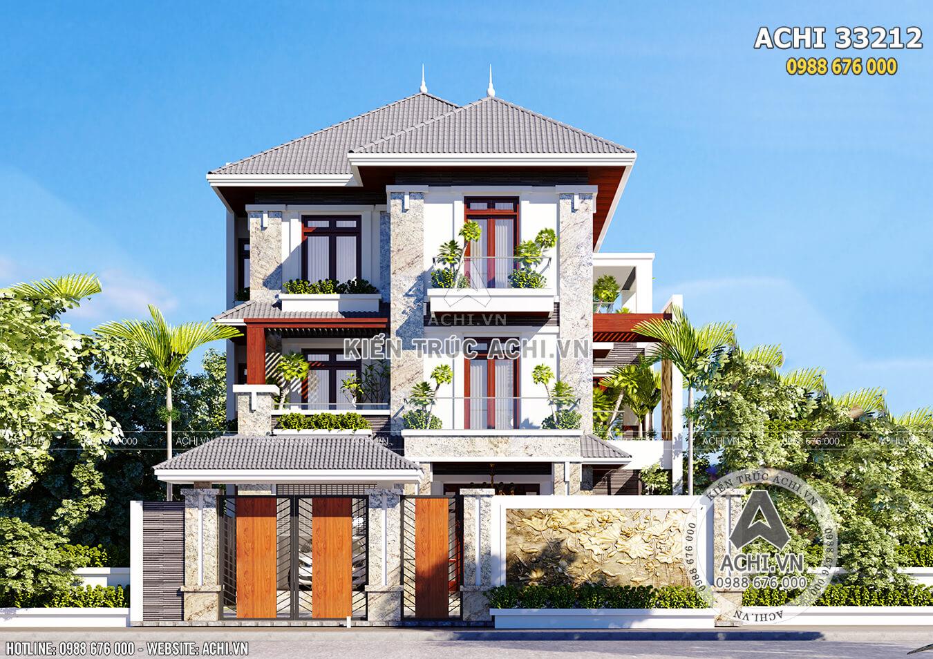 Phối cảnh 3D mặt tiền mẫu biệt thự 3 tầng mái Thái đẹp