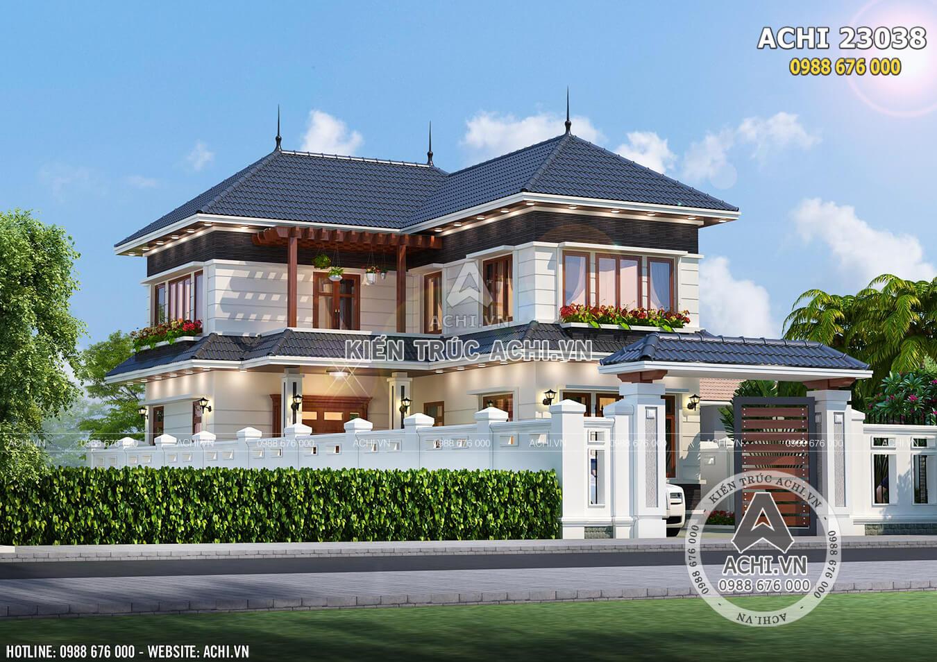 Mẫu biệt thự mái Thái 2 tầng hình chữ L khi nhìn từ ngoài vào