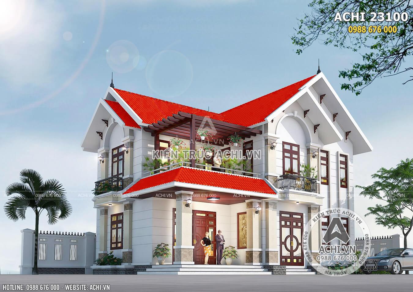 Phối cảnh 3D mặt tiền mẫu biệt thự 2 tầng mái Thái đẹp