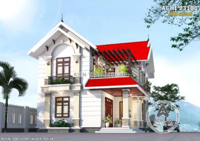 Không gian ngoại thất đầy thu hút của mẫu biệt thự mái Thái đỏ
